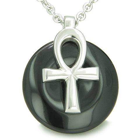 All Powers of Life Ankh  Amulet Simulated Black Onyx Lucky Donut Pendant 18 Inch Necklace