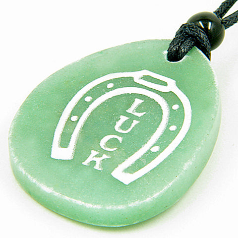A Money Talisman Lucky Horse Shoe Wish Stone Gemstone Pendant Necklace