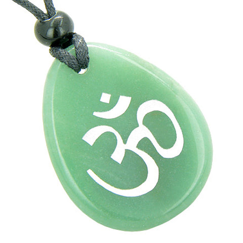 A Money Talisman Lucky Om Symbol Wish Stone Gemstone Pendant Necklace