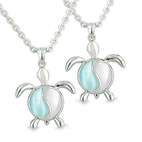 Yin Yang Turtles Love Couple in White and Aqua Blue Cats Eye Pendant Necklaces