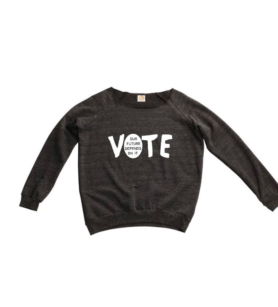 "fabulous people election off-the-shoulder ""vote"" sweatshirt (charcoal grey)"