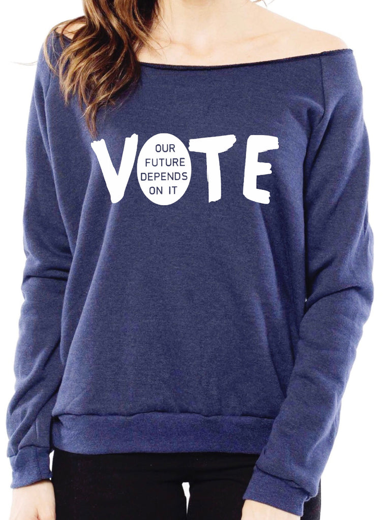 "fabulous people election off-the-shoulder ""vote"" sweatshirt (navy)"
