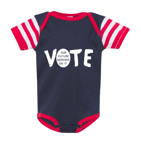 "FP infant election ""Vote"" short sleeve one-piece (navy/red)"
