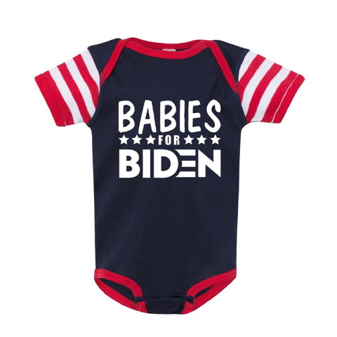"FP infant election ""Babies for Biden"" short sleeve one-piece (navy/red)"