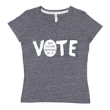"fabulous people election v-neck ""Vote"" women's tee (white/heather grey)"