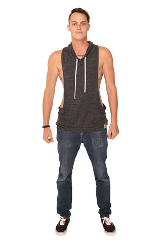fabulous people solid racerback hoodie tank (charcoal grey)