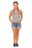 fabliving palm tree women's crop muscle tee (heather grey/red)