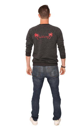 fabliving palm tree crewneck sweatshirt (charcoal grey/red)