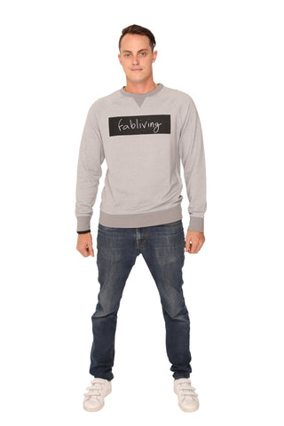 fabliving block crewneck sweatshirt (silver/black)