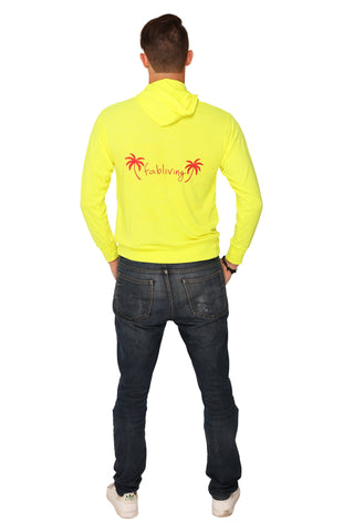 fabliving palm tree LS knit hoodie (neon yellow/red)