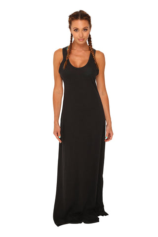 fabulous people solid eco-jersey racerback maxi dress (black)