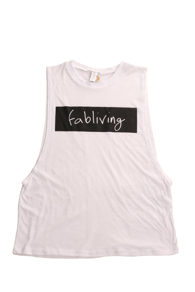 fabliving block muscle tee (white/black)