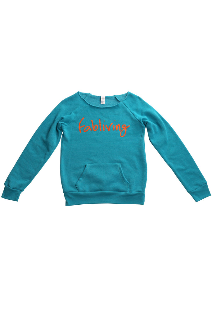 fabliving cozy off-the-shoulder (pool blue/orange)