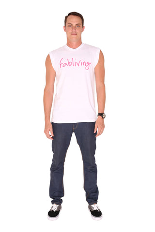 FP fabliving cotton muscle tee (white/pink)