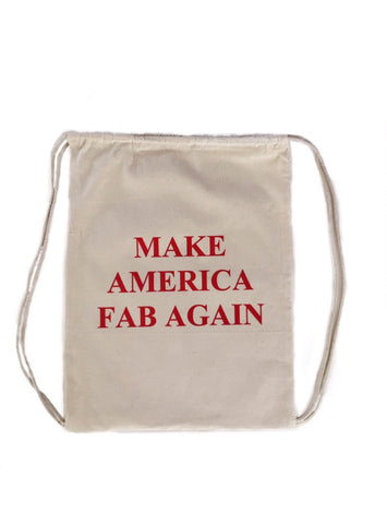 "FP fabliving ""make america fab again"" cinch bag  (natural/red)"