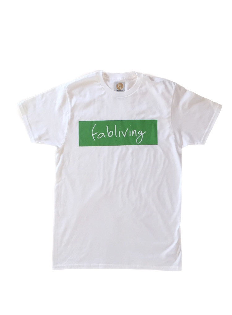 fabliving block short sleeve cotton (white/greenery)