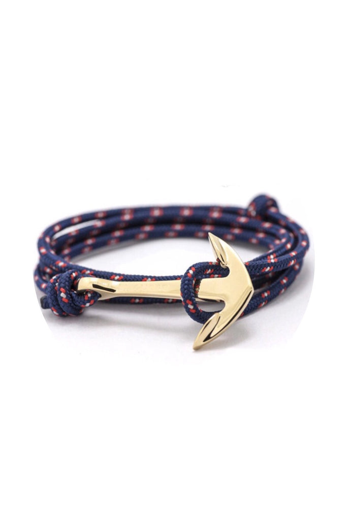 FP gold plated anchor wrap-around rope bracelet (navy)