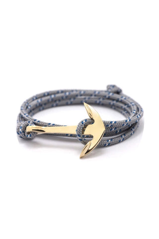 FP gold plated anchor wrap-around rope bracelet (grey)