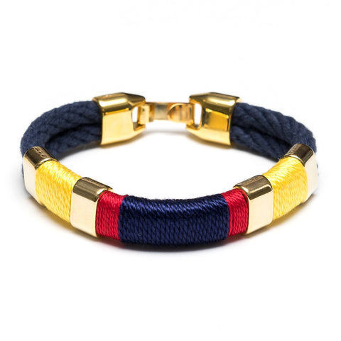 Multi Wrap Rope Bracelet - Navy, Yellow, Red, & Gold