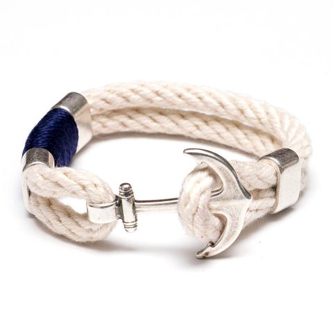 Anchor Rope Bracelet - Ivory, Navy & Silver