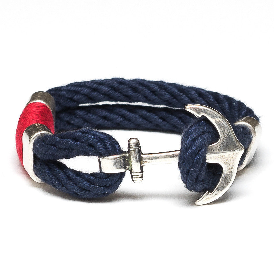 Anchor Rope Bracelet - Navy, Red & Silver