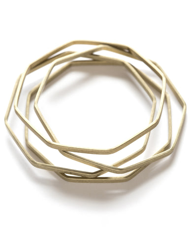 Octagon Brass Bangles - Set of 4