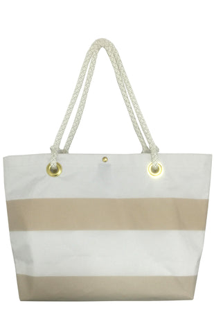 Waiting on Martha Cream Stripe Sailcloth Tote Bag