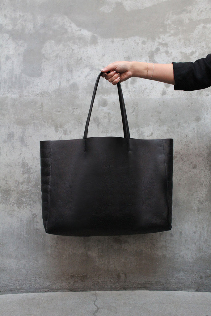Moto Leather Tote - Noir