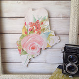 Maine Wood Sign - Light Pink Floral