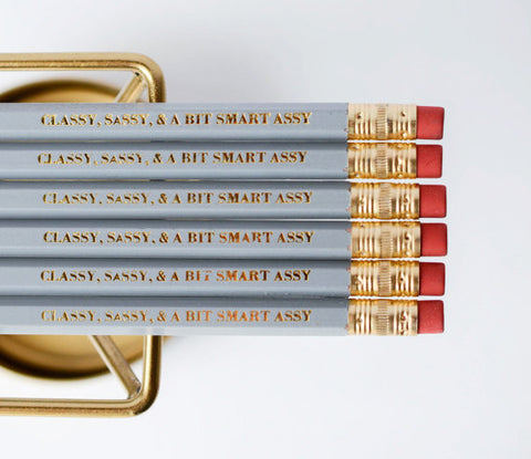 Classy Sassy & a Bit Smart Assy Grey Pencils - Set of 6