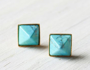 Turquoise Pyramid Stud Earrings - Gold