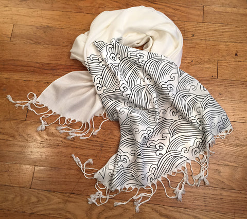 Cream Crashing Waves Scarf