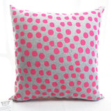 Polka Dot Pink & Grey Pillow