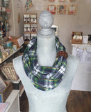 Plaid Flannel Infinity Scarf with Leather Cuff - Navy, Green + Cream
