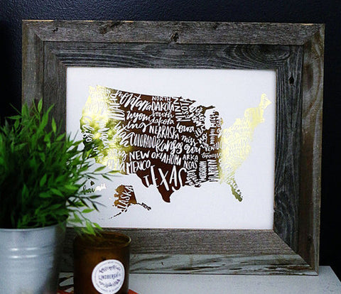 Gold Foil USA 11 x 14 Map