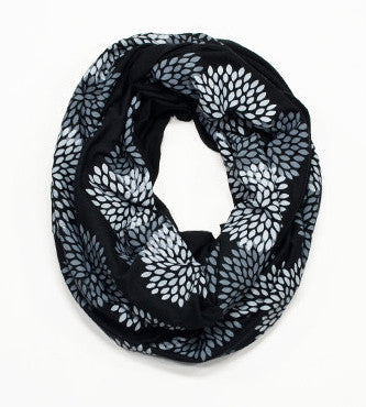 Black Flower Infinity Scarf