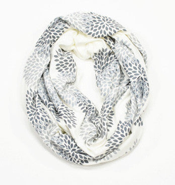 Cream Flower Infinity Scarf