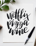 Netflix, Pizza, Wine 8 x 10 Print