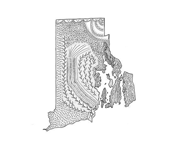 Rhode Island Illustrated Map 5 x 7 Print