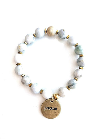 Jade + Gold Peace Charm Beaded Bracelet