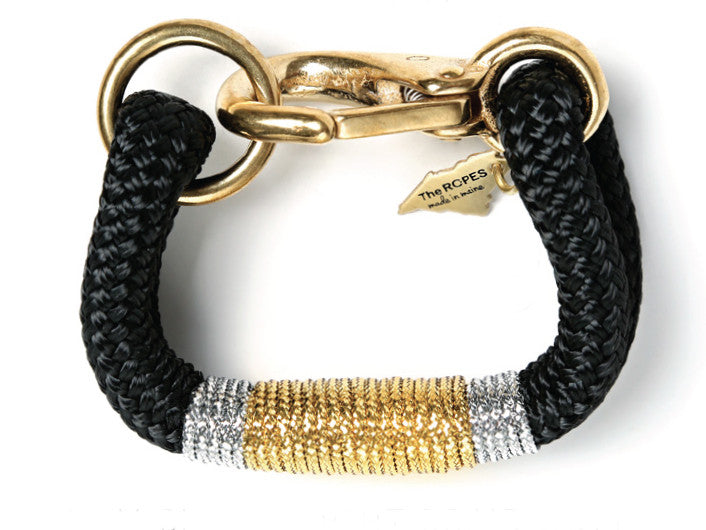 Kennebunkport Black, Gold & Silver Rope Bracelet