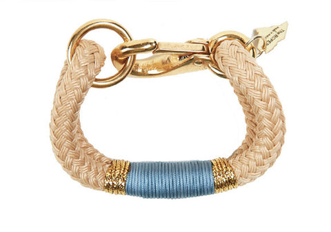 Kennebunkport Natural Rope, Gold & Light Blue Bracelet