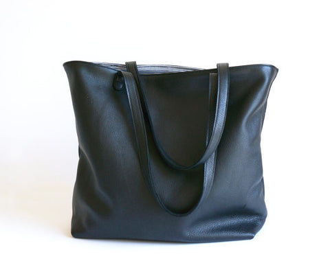 Leather Tote Bag - Black