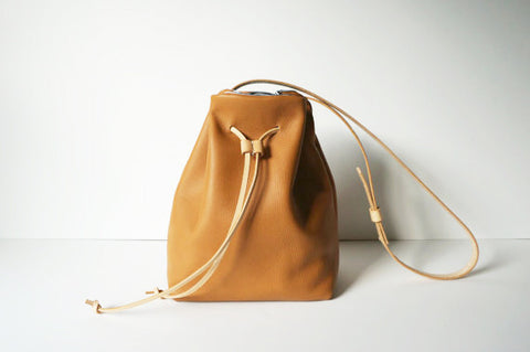 Camel Leather Bucket Bag