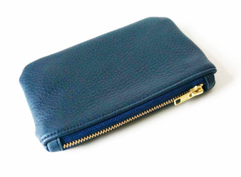 Leather Coin Purse - Navy