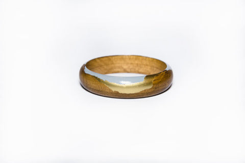 Horizon Wood Bangle - Grey & Gold