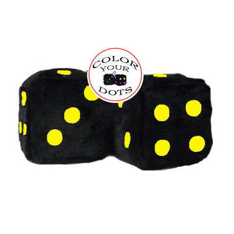 4 Inch Black Fuzzy Dice