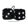 4 Inch Black Fuzzy Dice with Grey Dots