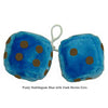 4 Inch Bubblegum Blue Furry Dice with Dark Brown Dots