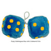 4 Inch Bubblegum Blue Furry Dice with Goldenrod Dots